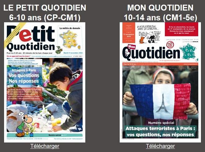 Petit quotidien attentats de paris t l charger gratuitement ce journal pour - Journal pour les enfants ...
