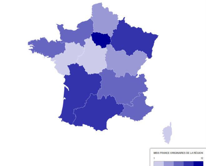 carte nombre election miss france par region