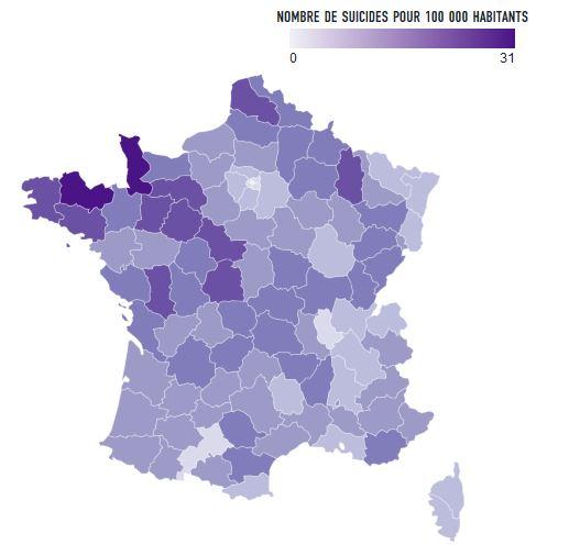départements français où il y a plus de suicides