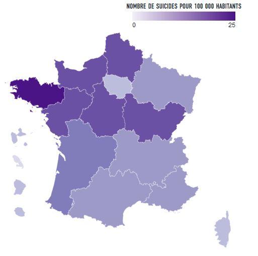 suicide régions les plus touchées