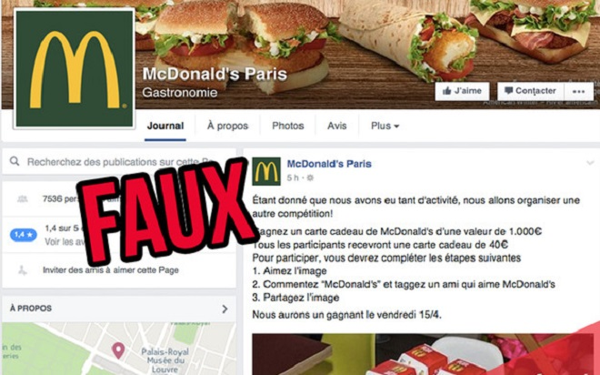 Mc Donald's Paris arnaque Facebook
