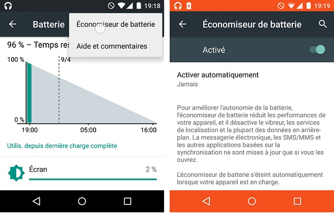 Mode economiseur de batterie Android