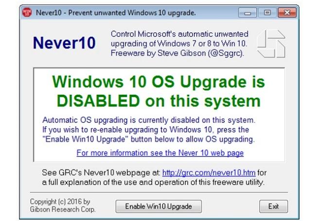Never 10 empêche mise à jour windows 10