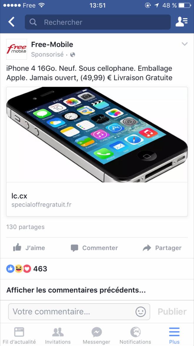 arnaque facebook iphone