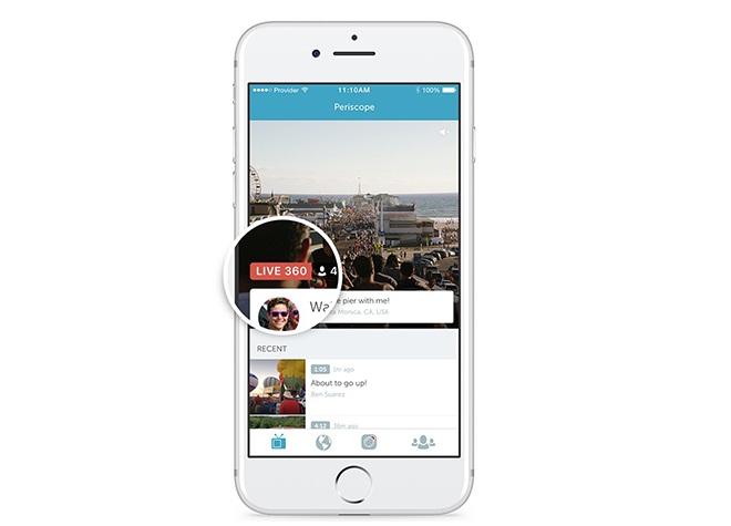 Premier direct vidéo à 360 degrés sur Periscope — Réseaux sociaux