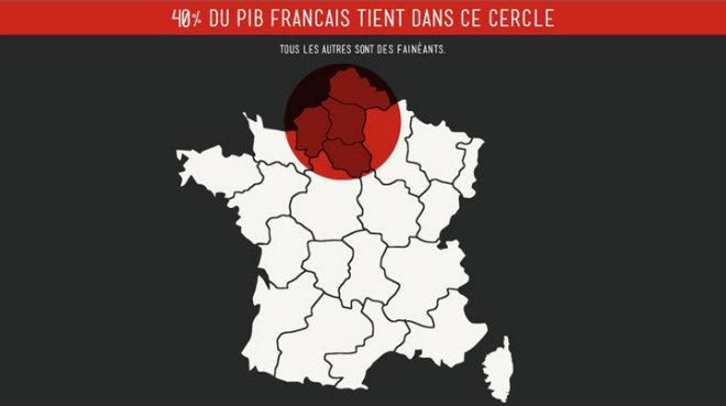 40 pour cent PIB français produit sur une petite partie des regions