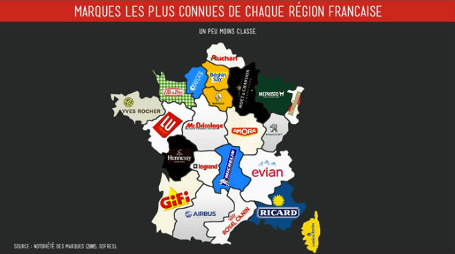 marques les plus connues par region en france