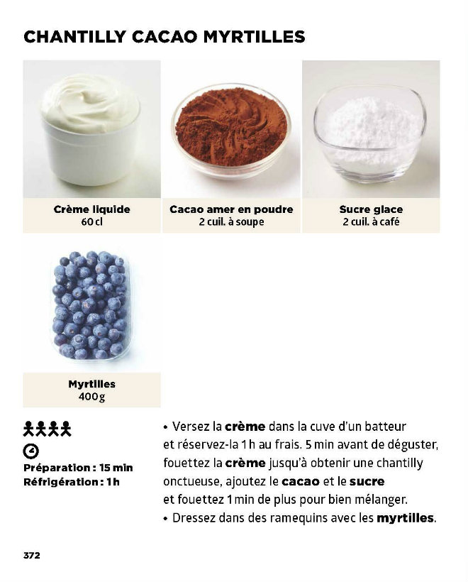 chantilly cacao myrtille recette