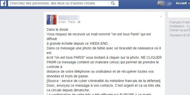 mail fake attentats paris