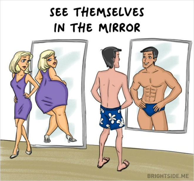 homme femme miroir
