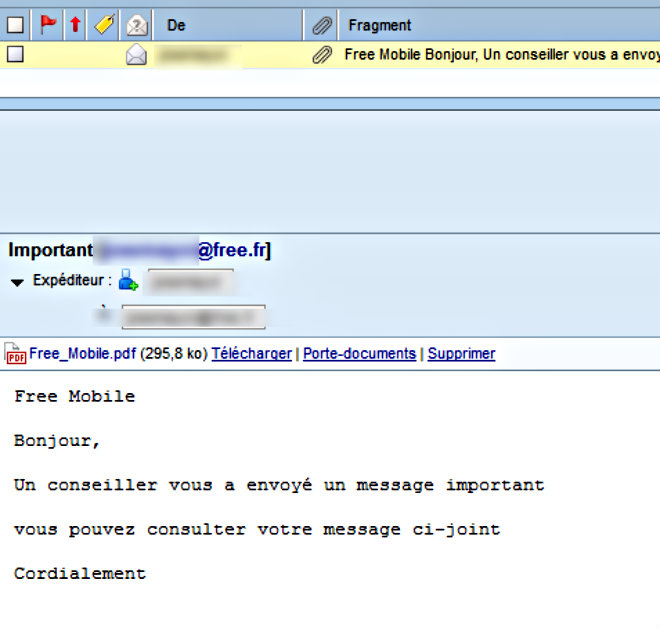 capture ecran mail fraude free mobile