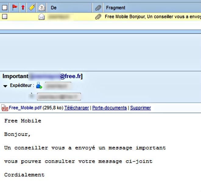 capture ecran mail fraude free mobile
